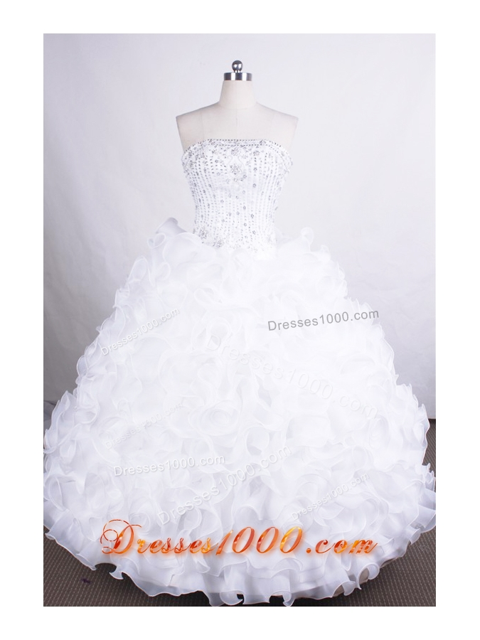 Luxurious Ball Gown Strapless Floor-length Organza Quinceanera Dresses