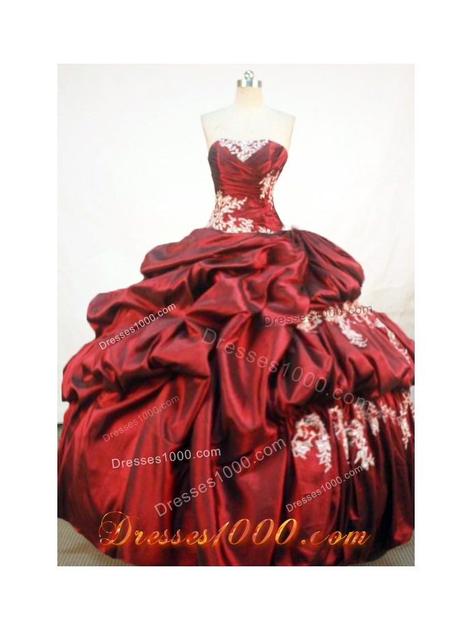 Wonderful Ball Gown Strapless Floor-length Quinceanera Dresses Appliques with Beading