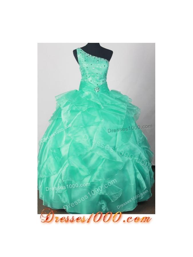 Romantic Ball Gown One Shoulder Neck Floor-length Green Quinceanera Dress