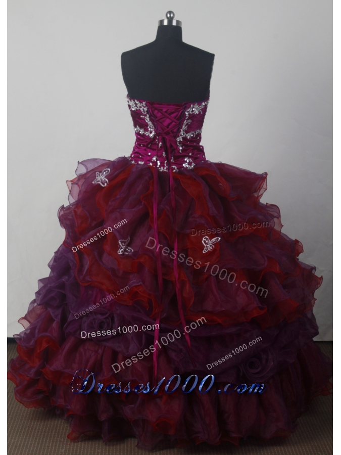 Cheap A-line Strapless Floor-length Organza Colorful Quinceanera Dress Style