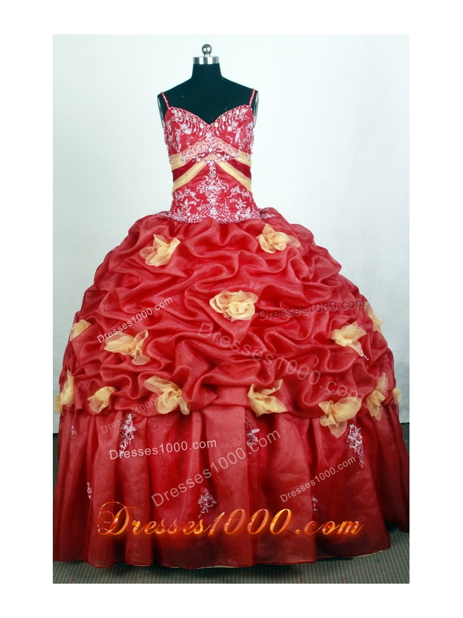 Beautiful Ball Gown Straps Floor-length Red Quinceanera Dress