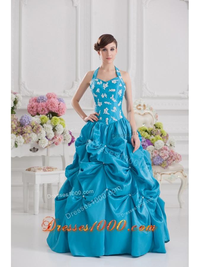 Princess Taffeta Appliques Ruffles Teal Quinceanera Dress with Halter Top