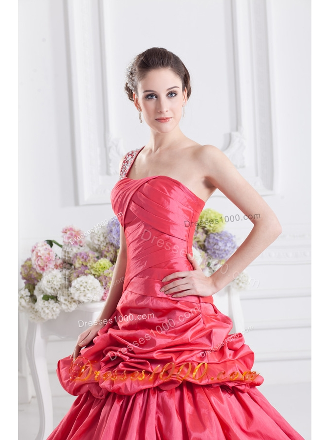 Cheap Coral Red One Shoulder Beading Ball Gown Quinceanera Dress with Pick Ups
