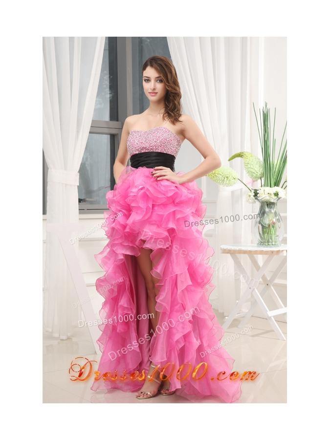 Hot Pink Strapless Belt Beading Ruffles High-Low Organza Prom Dress ...