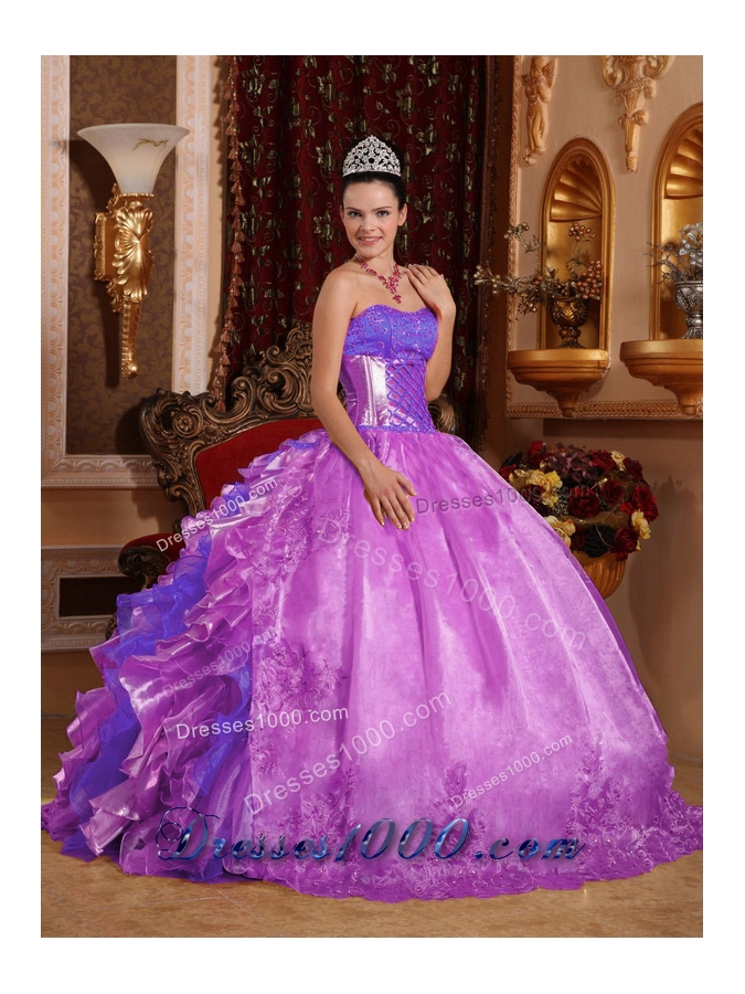 Ball Gown Strapless Ruffles and Beading Lilac 2014 Fashionable Quinceanera Dress