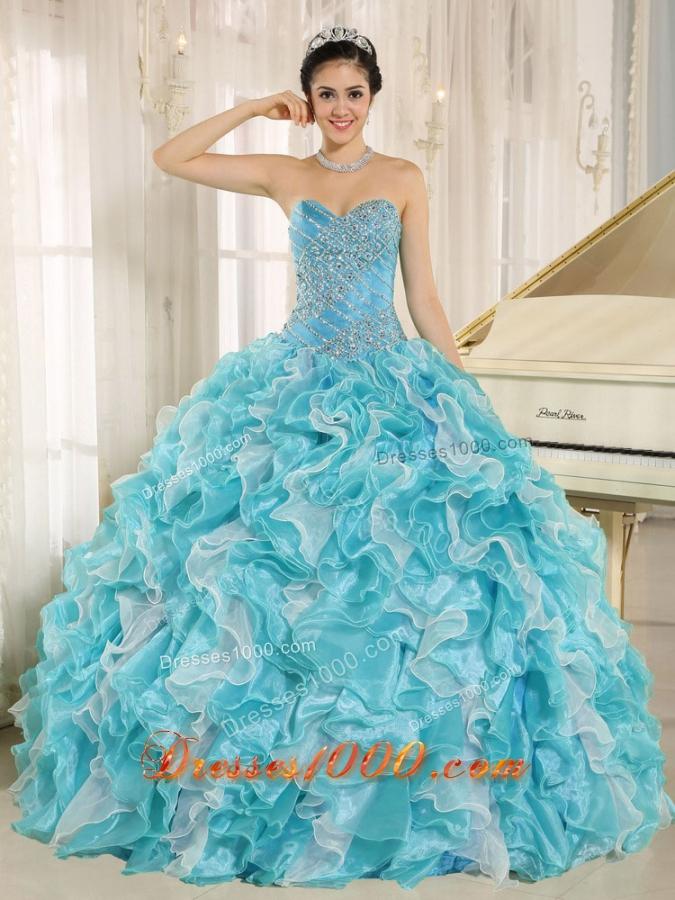 Beaded Ruffles Custom Made For 2013 Aqua Blue Elegant Quinceanera Dress