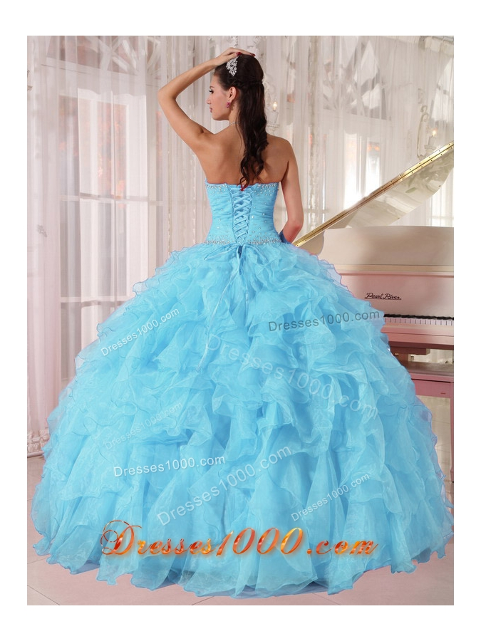 Light Blue Ball Gown Strapless Ruffles Organza Beading Cheap Quinceanera Dress