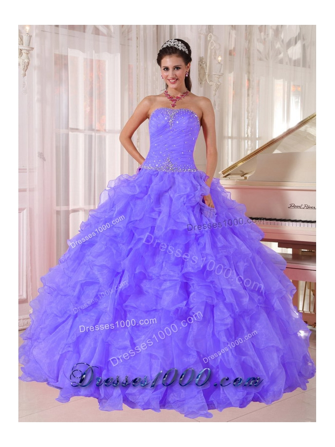 Luxurious Ball Gown Designer Quinceanera Dress with Strapless Purple Organza Beading