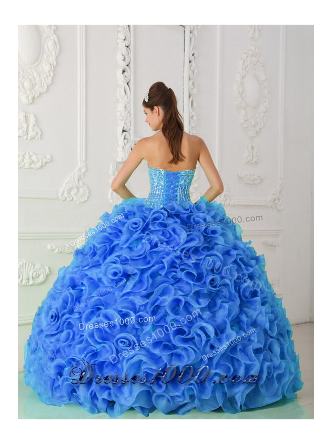 Organza Ball Gown Beaded Royal Blue Fashionable Quinceanera Dress with Strapless