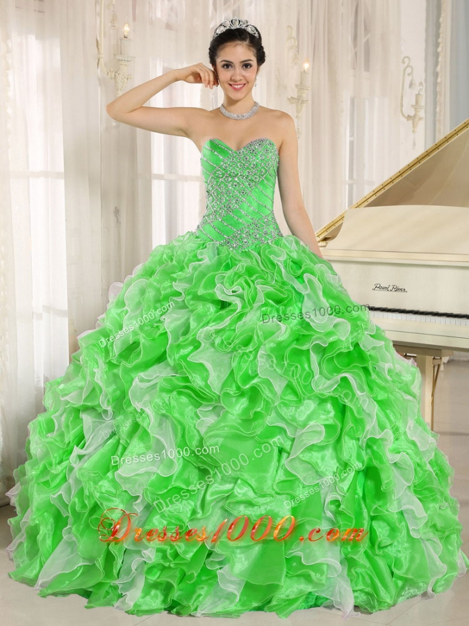 Spring Green Beaded and Ruffles Custom Made For 2013 Discount Quinceanera Dress
