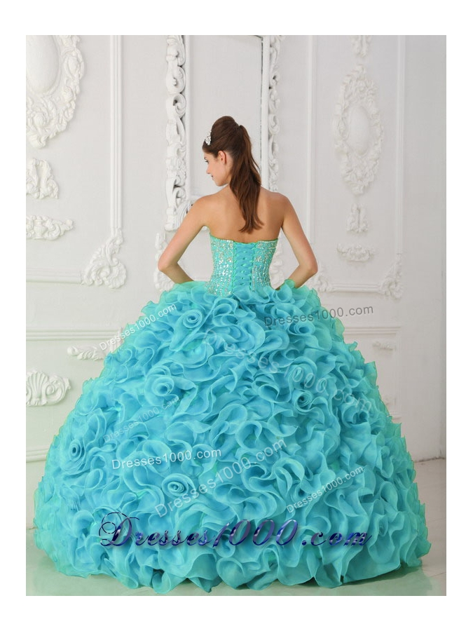 Strapless Organza Beading Ball Gown Fashionable Quinceanera Dress in Blue