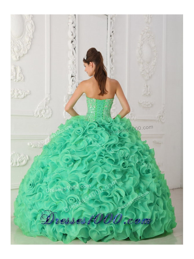Turquoise Strapless Organza Designer Quinceanera Dress with Beading