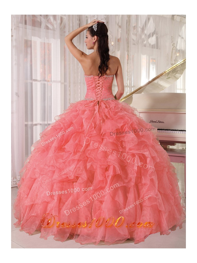 Ball Gown Strapless Floor-length Organza Beading Most Popular Quinceanera Dress with Watermelon Red