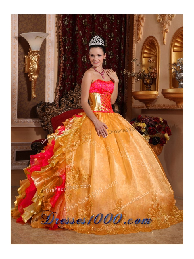 Ball Gown Strapless Floor-length Organza Embroidery Gold New Style Quinceanera