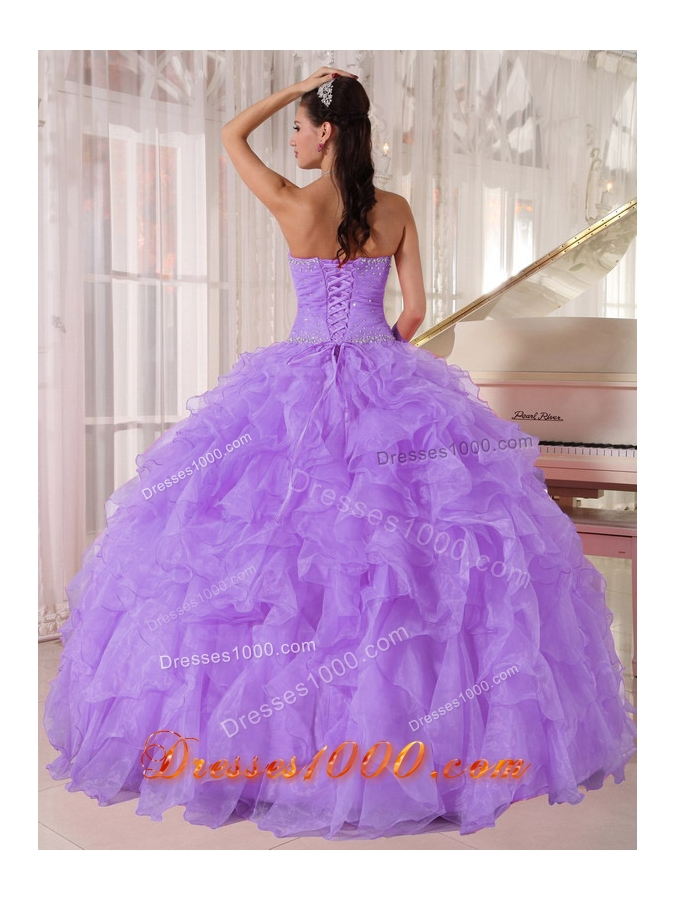 Ball Gown Strapless Lavender Organza Beading Sweet Sixteen Dress for Party