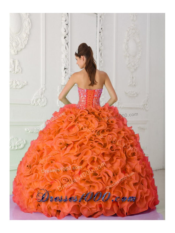 Ball Gown Strapless Organza Beading Orange Red New Style Quinceanera Dress