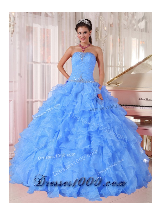 Ball Gown Strapless Ruffles and Beading Floor-length Organza Beading Blue New Style Quinceanera Dress