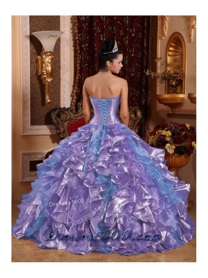 Ball Gown Strapless Ruffles Organza Embroidery Lavender Plus Size Quinceanera Dress