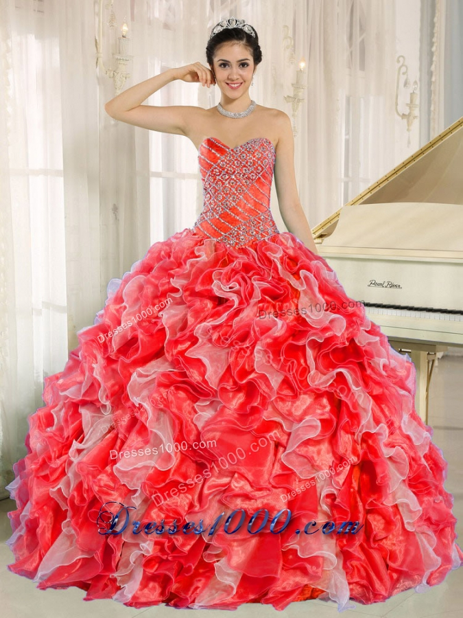Beaded and Ruffles Custom Made For 2013 Red Sweet Sixteen Dress