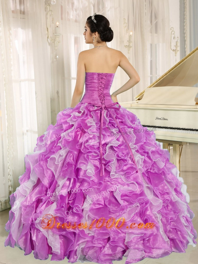 Beaded and Ruffles Lilac and White Most Popular Quinceanera Dress for Custom Made