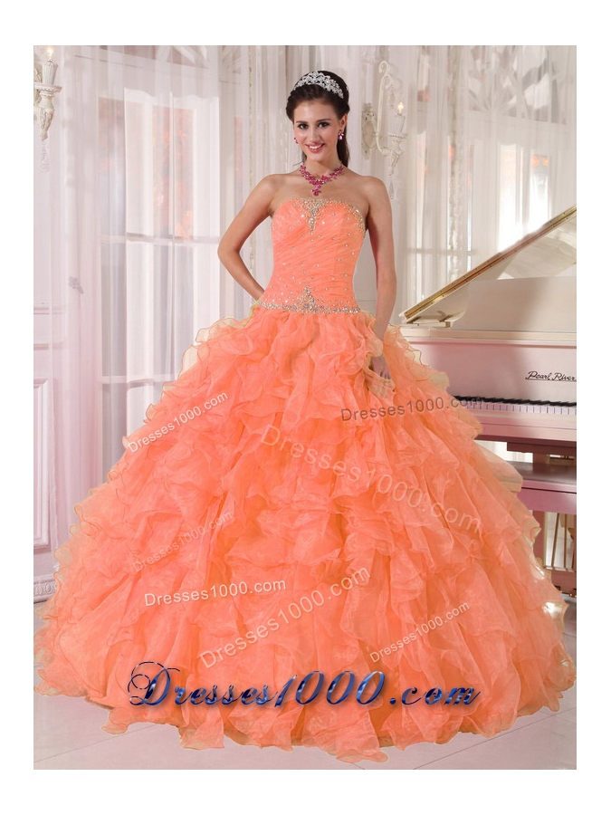 Lovely Orange Ball Gown Strapless Organza Quinceanera Dress 2014 with Beading and Ruffles
