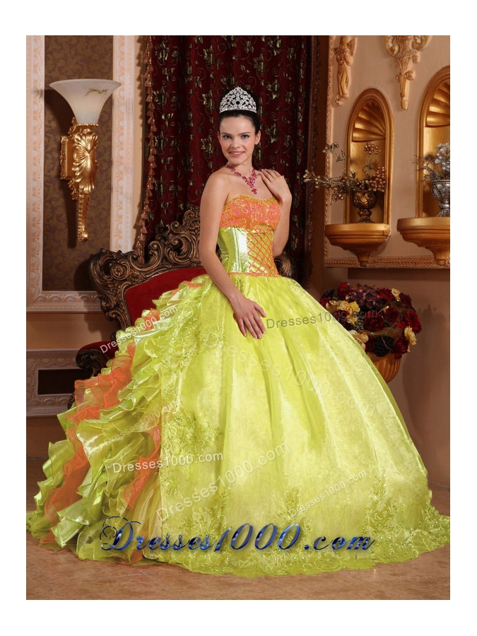 Spring Green Ball Gown Strapless Floor-length Organza Embroidery Sweet Sixteen Dress