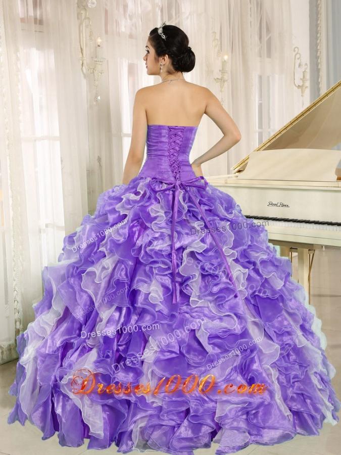 Beaded and Ruffles Custom Made For 2013 Purple Vestidos de Quinceanera Dress