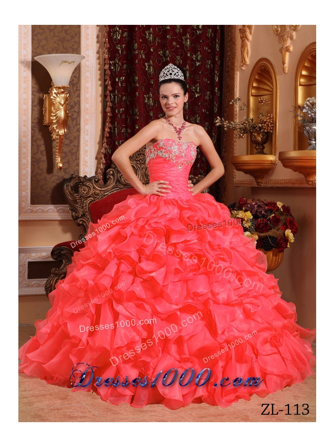 Coral Red Organza Beading and Appliques Quinceanera Gown with Ruffles