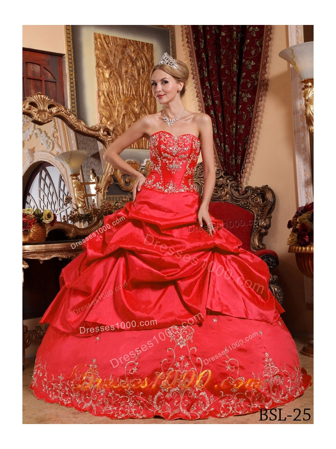 Sweetheart Embroidery with Beading Red Ball Gown Quinceanera Dresses