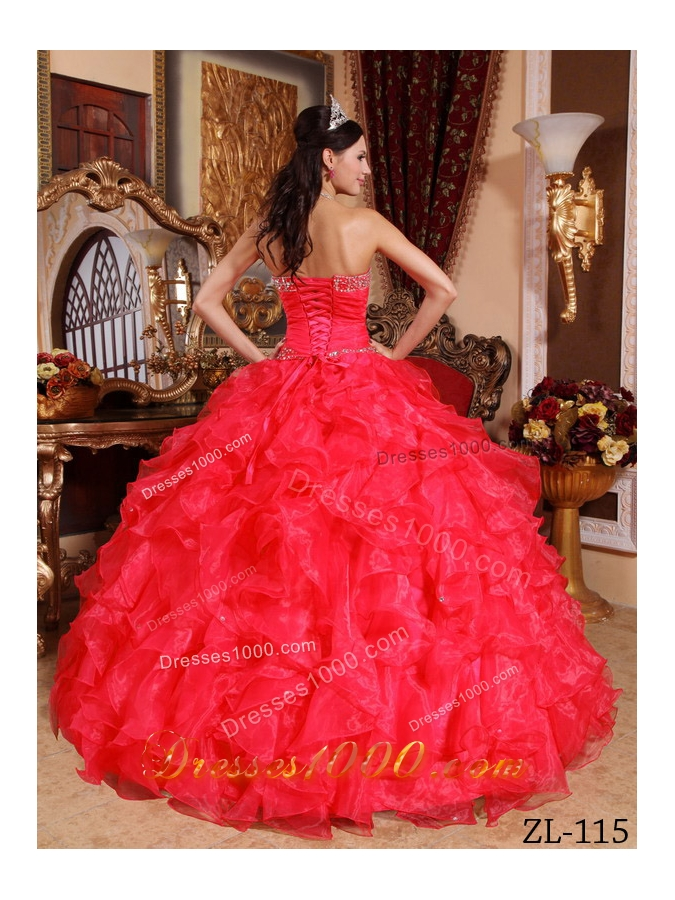 Sweetheart Organza Beading and Ruffles Red Quinceaneras Dress