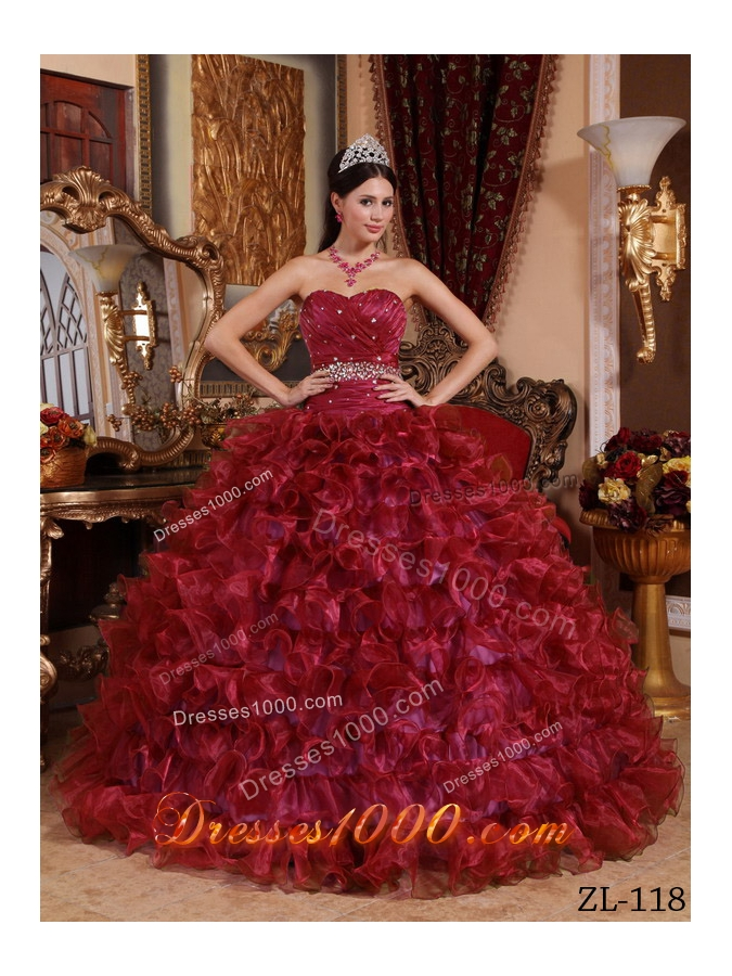 Sweetheart Organza Beading and Ruffles Wine Red Quinceanera Gown Dresses