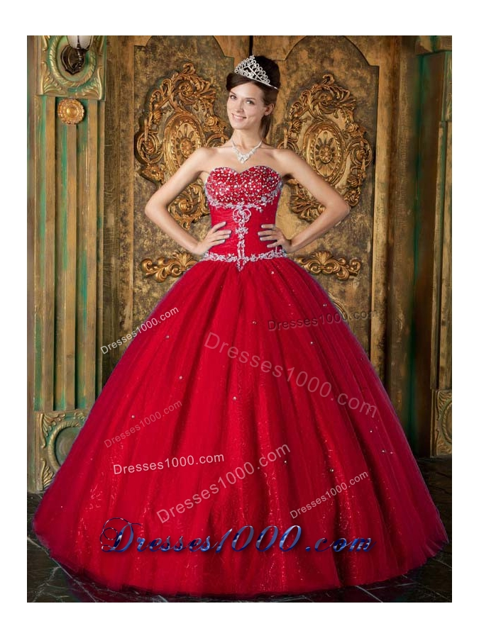 Wine Red Princess Sweetheart Beading and Appliques Quince Dresses
