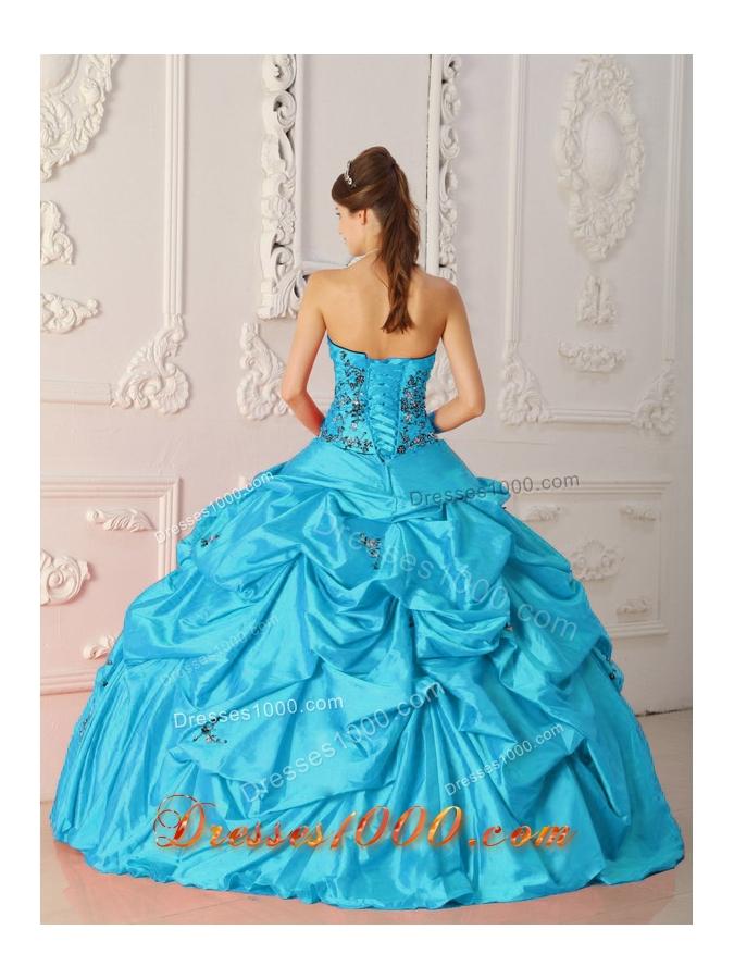 Aqua Blue Ball Gown Strapless Floor-length Quinceanera Dress with Taffeta Appliques