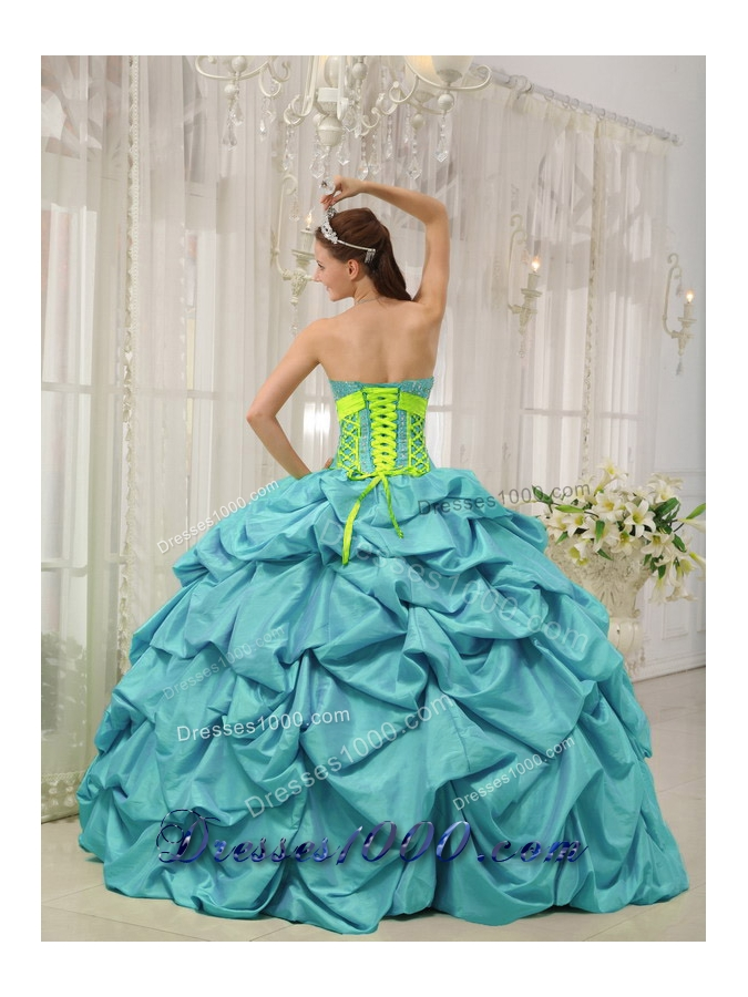 Aqua Blue Ball Gown Sweetheart Quinceanera Dress with  Taffeta Beading Pick-ups