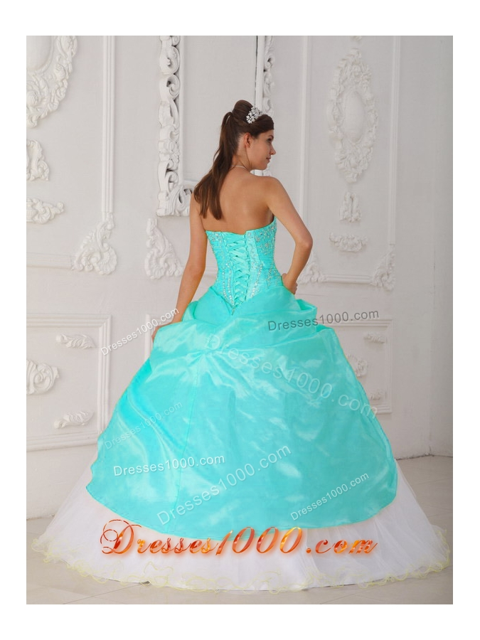 Baby Blue and White Ball Gown Strapless Quinceanera Dress with Taffeta Appliques