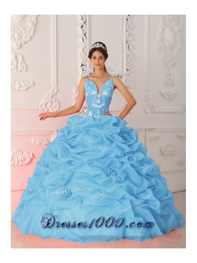 Baby Blue Ball Gown Straps Quinceanera Dress with Organza