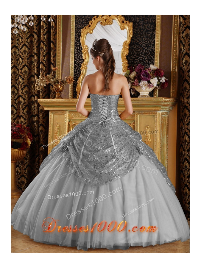 Classical Grey Puffy Sweetheart Sequined and Handle Flowers for 2014 Quinceanera Dress