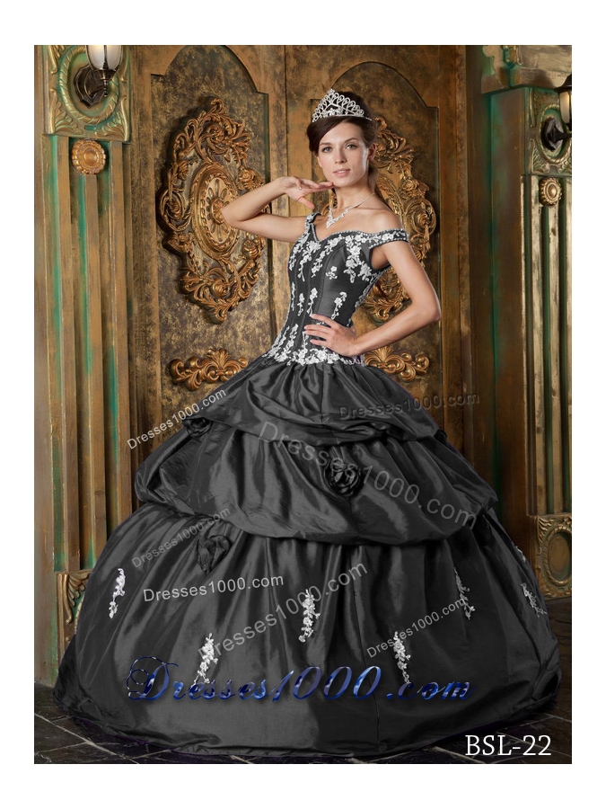 Elegant Grey Puffy Off The Shoulder Floor for 2014 Appliques Quinceanera Dress with Pick-ups