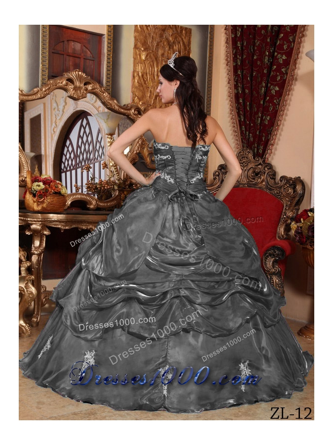 Fashionable Dark Gray Puffy Strapless with Appliques for 2014 Quinceanera Dress