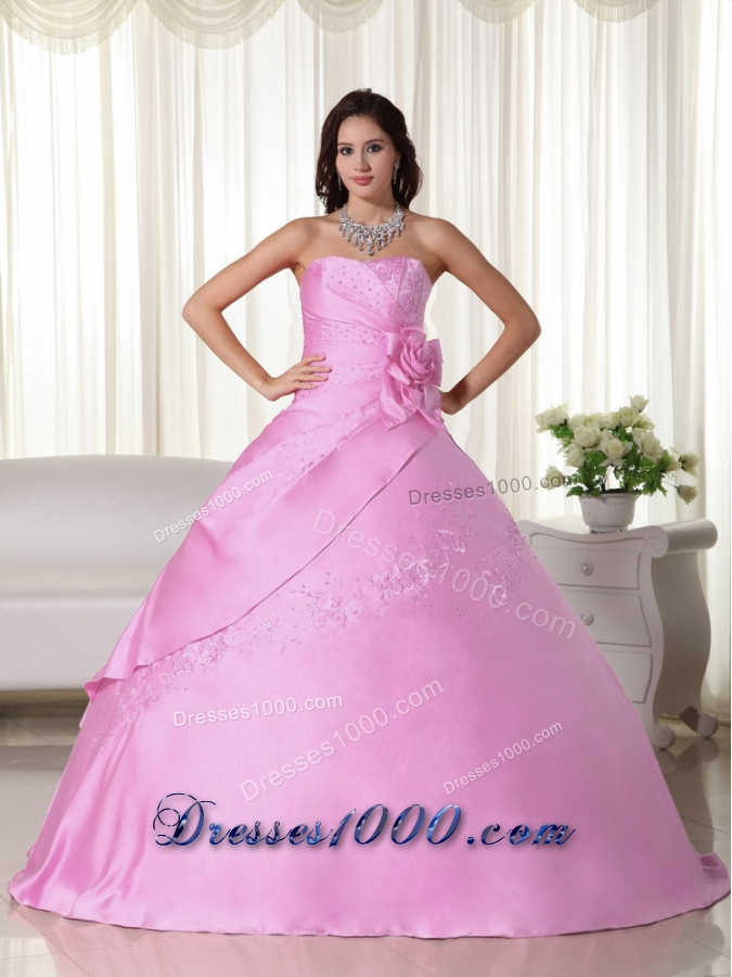 Pink Puffy Strapless Beading Quinceanera Dresses with Hand ...