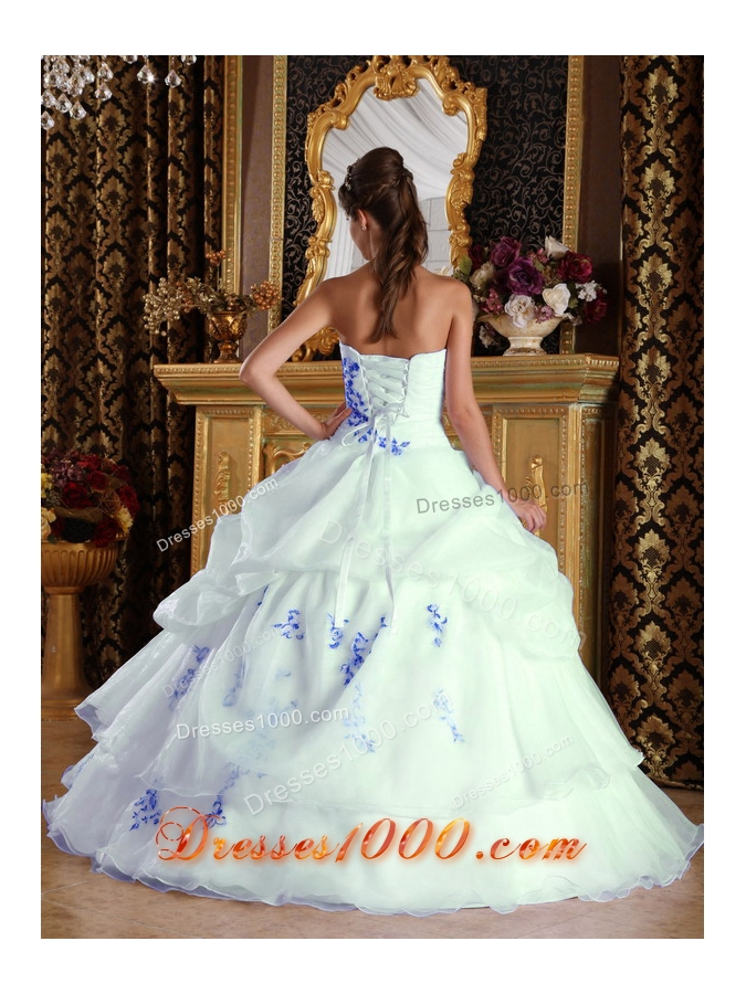 Elegant White Princess Organza Blue Embroidery Quinceanera Dress