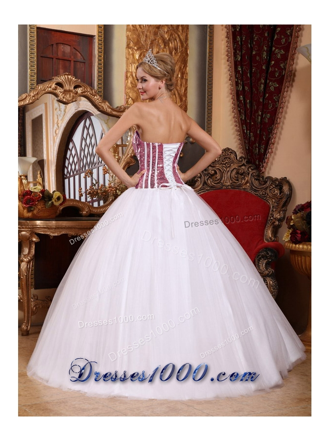 New Style White Strapless Tulle Squins Quinceneara Dresses
