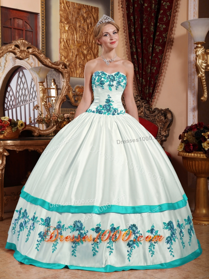 Puffy Sweetheart Taffeta White Quincenera Dresses with Turquoise Appliques
