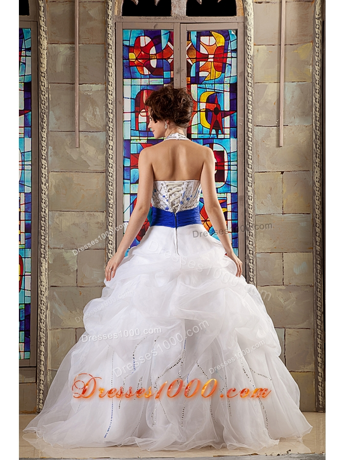 White Beaded Halter Organza Quinceanera Dress with Royal Blue Sash