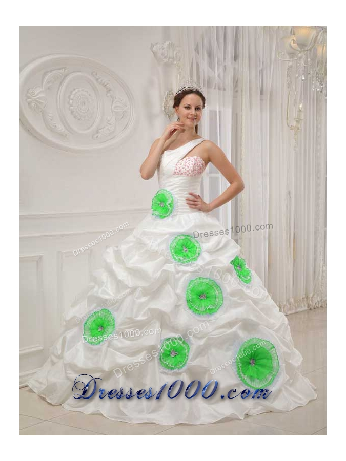 White One Shoulder Quinceanera Dresses with Beading and Green Hand Made Flowers