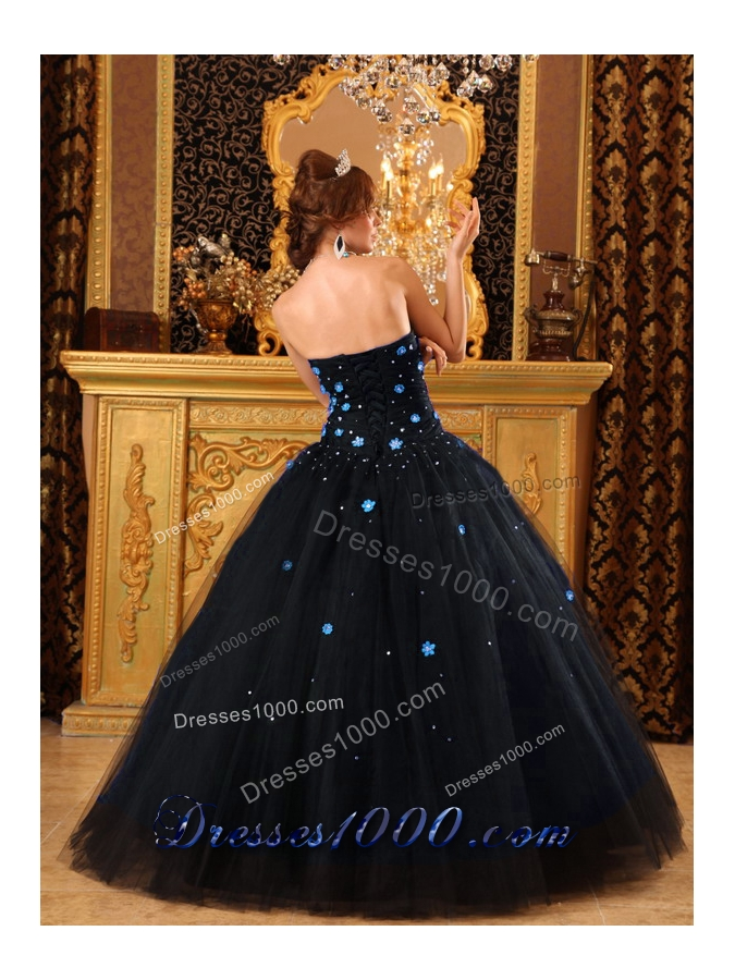 2014 Popular Puffy Strapless Appliques Black Quinceanera Dress with Beading