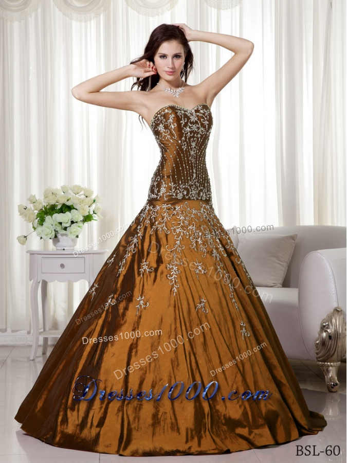 2014 A-line Sweetheart Quinceanera Dresses with Beading Embroidery