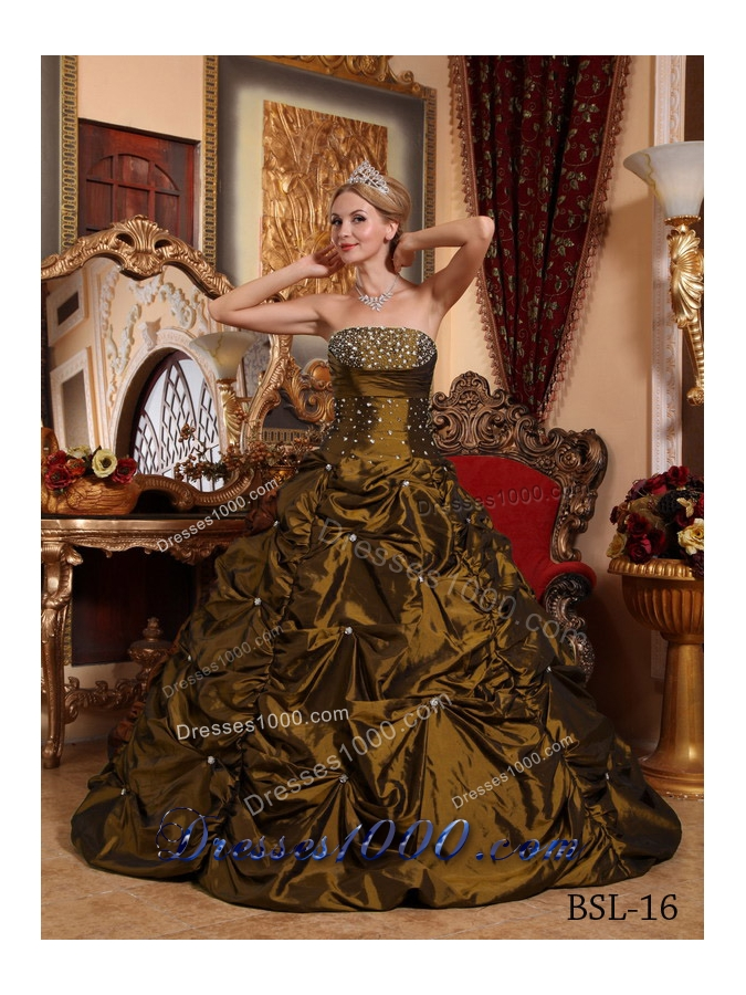 2014 The Super Hot Brown Princess Strapless Beading Quinceanera Dresses