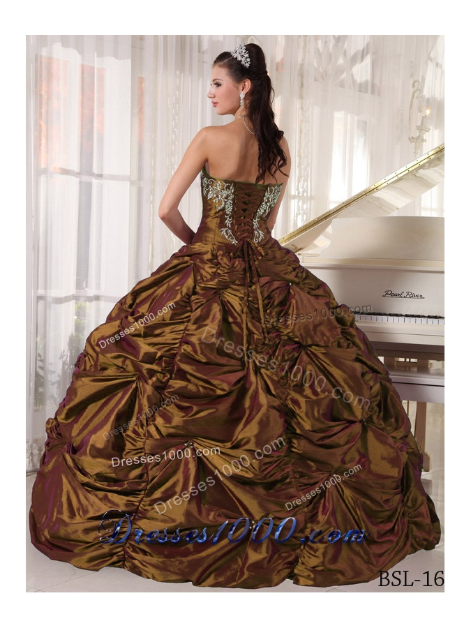 Perfect Brown Puffy Strapless for 2014 Embroidery Quinceanera Dresses with Pick-ups
