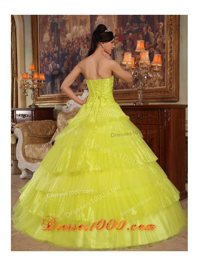 Strapless Organza Yellow Sweet 15 Dresses with Layers and Appliques